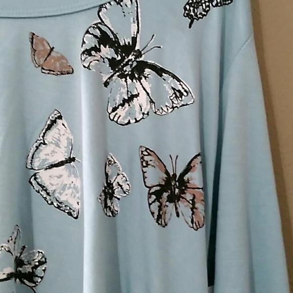 Karen Kane Womens Butterfly Printed Crewneck Knit Top